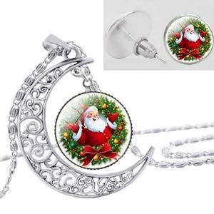 Santa Baby Glass Necklace and Earrings Set